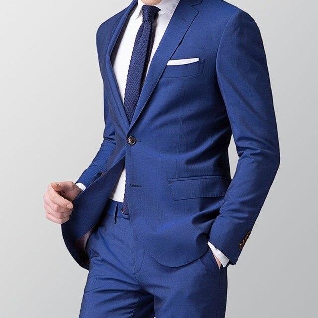 Smart Casual Dark Blue Navy Business Suit Groom Wedding Mens Blazer Tuxedos For