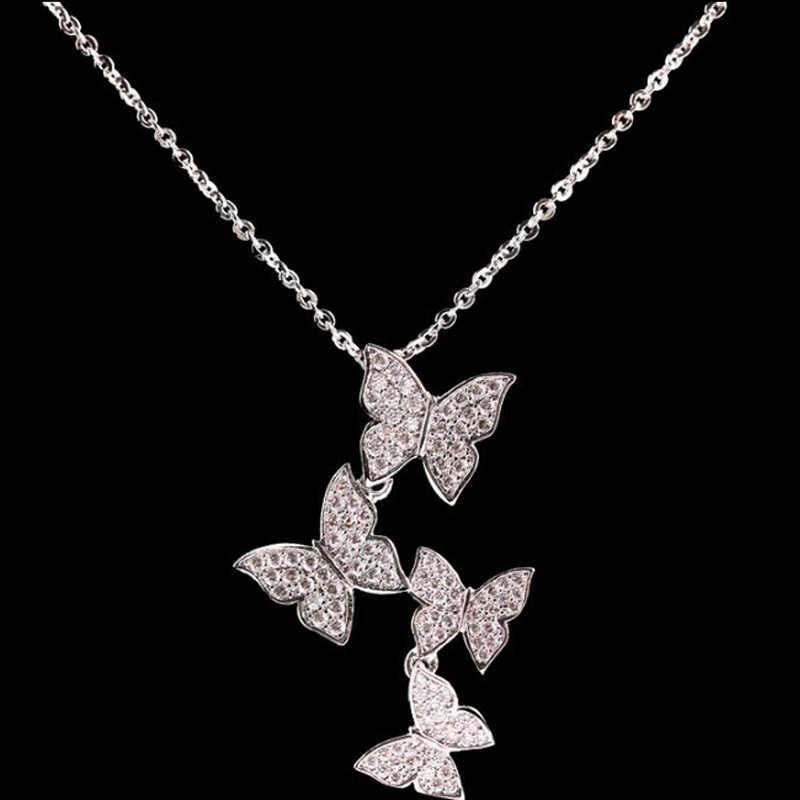 ZHOUYANG จี้สร้อยคอผู้หญิงผีเสื้อ Micro Cubic Zirconia Silver สี Collarbone CHAIN แฟชั่นเครื่องประดับ KBN492