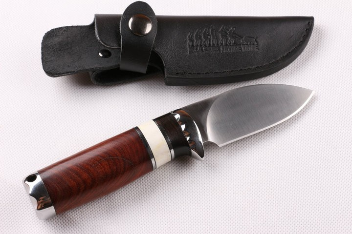 Buy Best Quality Small Hunting Fixed Knife 7CR15MOV Blade Steel+Deer Bone+Red Rosewood Handle EDC Camping Knife Utility Outdoor Tool cheap