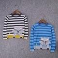 2016 cabritos del bebé de primavera fina de punto de algodón suéter de la muchacha del patrón Lindo perro suéteres de rayas de color para 1-5Y envío gratis