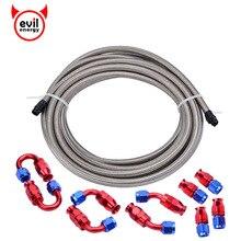 אנרגיה רעה 16ft AN6 כסף קלוע צינור קו ישר 45 תואר מרפק 180 תואר PTFE בלם אבזרי צינור
