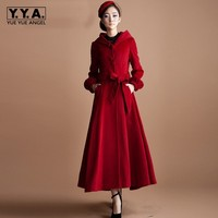 Women Red Hooded Wool Coat Full Length Skirt Style Belted Dust Coat Female Top Brand Puff Sleeved Winter Outerwear Overcoats
