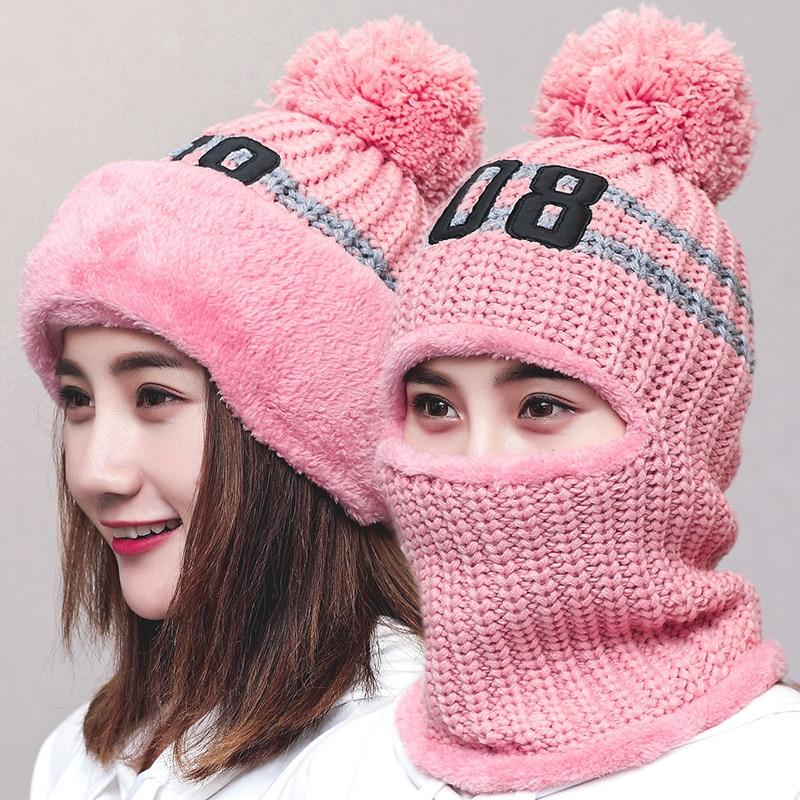 Women's Knitted Hat Scarf Neck Thick Windproof Balaclava Warmer Winter Hats For Women   Skullies     Beanies   Warm Fleece Turban Cap