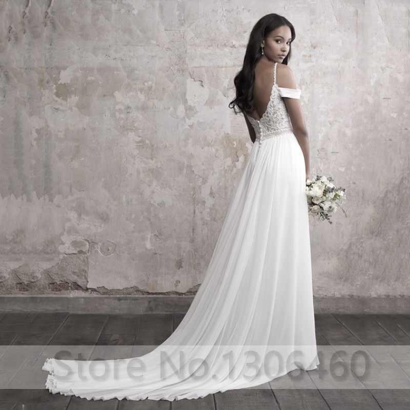 שיפון קו חתונת שמלות 2019 סקסי V צוואר ללא משענת Boho חתונת שמלת אפליקציות תחרה למעלה כלה שמלות vestidos דה novia