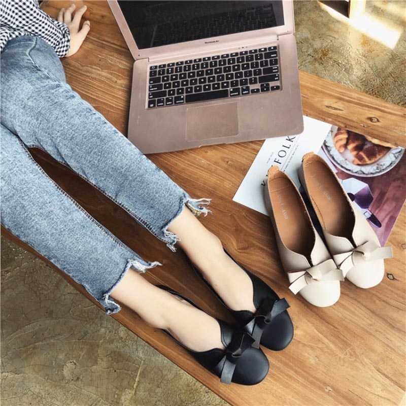 Spring Summer New Leather Women Shoe Casual Leather Shoes For Women Flat Shoes White Ladies Bow Loafers Zapatos Mujer slip-on цена 2017