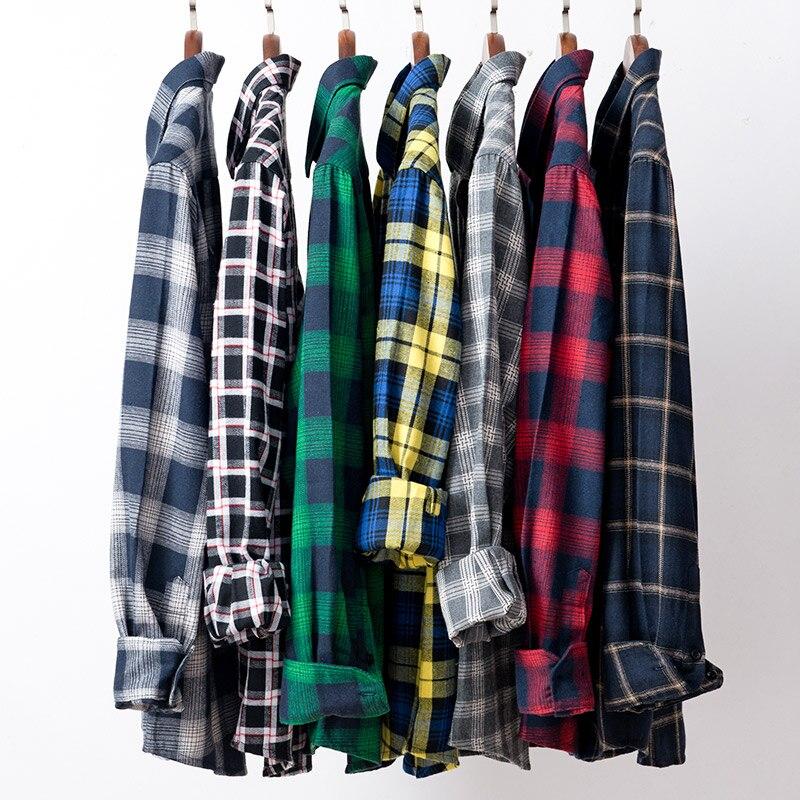 AOLIWEN2019 Men's Fashion Plaid Shirt Summer Long-sleeved Shirt Men Pattern Shirt Casual Long Sleeve Plaid Sanded Shirt M-5XL
