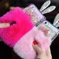 Новый 2107 Мех Кролика Case Для Iphone 6 Plus 6 s plus 5.5 'Cover оболочки Уха Кролика Дизайн с цепи Леди Ярко-Розовый Пушистый Телефон Мешки