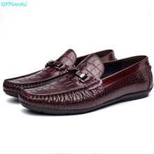 Crocodile Pattern Genuine Leather Men Shoes Luxury Embossed Mens Loafers Handmade Slip On Casual Dress