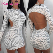 Karlofea Spring Sexy Sequin Club Party Dress Back Open Birthday Mini Dress Long Sleeve New Fashion Lady Beautiful Bodycon Dress
