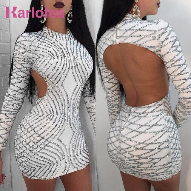 Karlofea春セクシーなスパンコールクラブドレスバックオープン誕生日ミニドレス長袖新ファッション女性美しいボディコンドレス