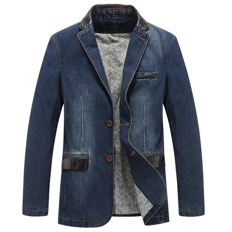 2017 New fashion brand men denim blazer slim fit leather denim jacket men blazer masculino csual jeans suit jacket men big size