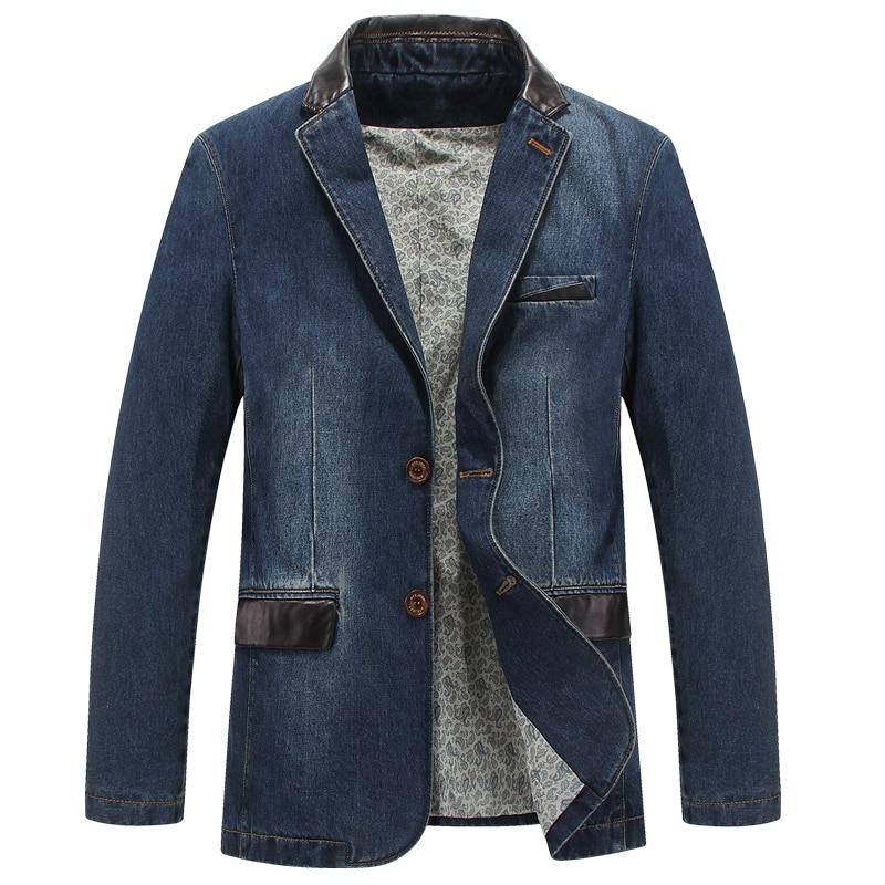 2017 Neue Modemarke Männer Denim Blazer Slim Fit Leder Denim Jacke Männer Blazer Masculino Csual Jeans Anzug Jacke Männer Große Größe