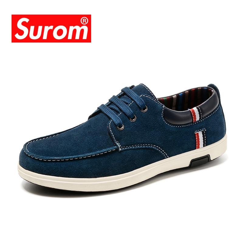 86208d7a1 SUROM da Camurça Dos Homens Calçados Casuais Homem de Negócios Britânico Sapatos  De Couro Camurça Rendas até Sapato Oxford Dos Homens Plana Barco De Luxo ...