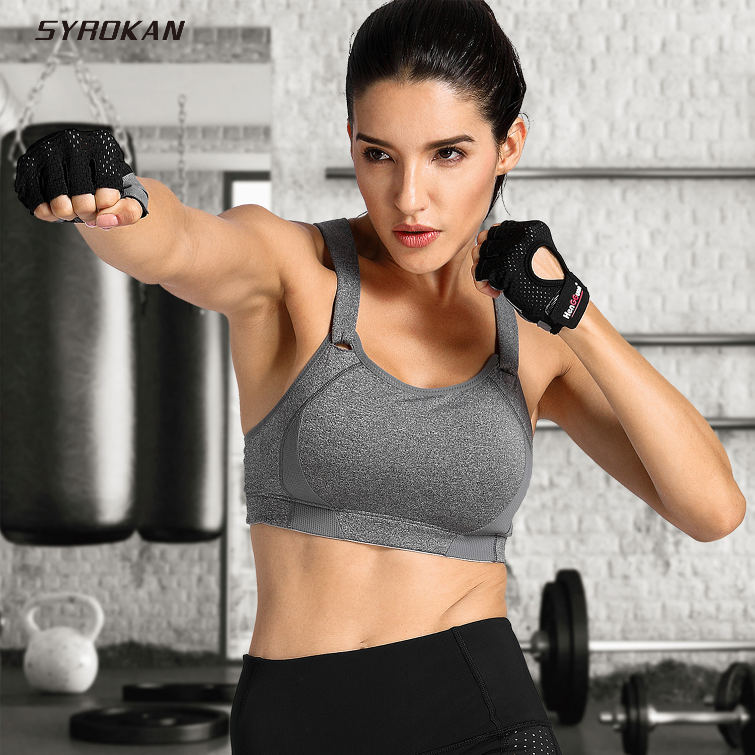 SYROKAN Women's High Impact Wire Free Full Coverage Lightly Padded Sports Bra
