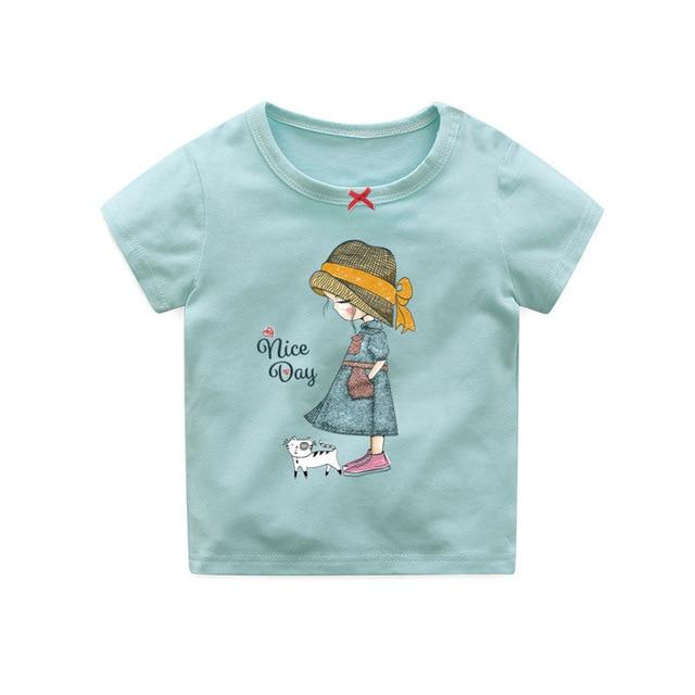 441574c75 OKLADY 2019 Baby Girls T-Shirts Toddler Summer Cartoon Short Sleeve Tshirt  Tops Kid Girls Power Cotton Clothes Tops Anime Tee