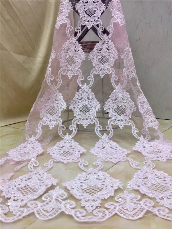 Hot selling African lace fabric sequins High Quality Tulle Lace Fabric French Voile Guipure Lace For