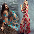 2016 para o amor e limões flor bordado vestido de malha nu o-pescoço mangas 3/4 maxi vestido de praia nova chegada das mulheres sexy vestidos