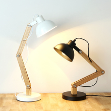 American Country Wood Wrought Iron Rotatable Table Lamp Art Fold for Bedroom Light Study Decoration