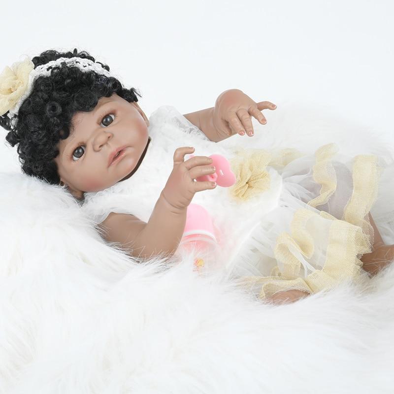 Reborn dolls girl toys 22 full body silicone reborn baby dolls curls children gift dolls bebe real reborn boneca