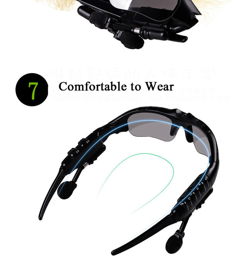 Bluetooth Sunglasses Outdoor Smart Sun Glasses Wireless Headset with Microphone for Smart Phones black normal 18