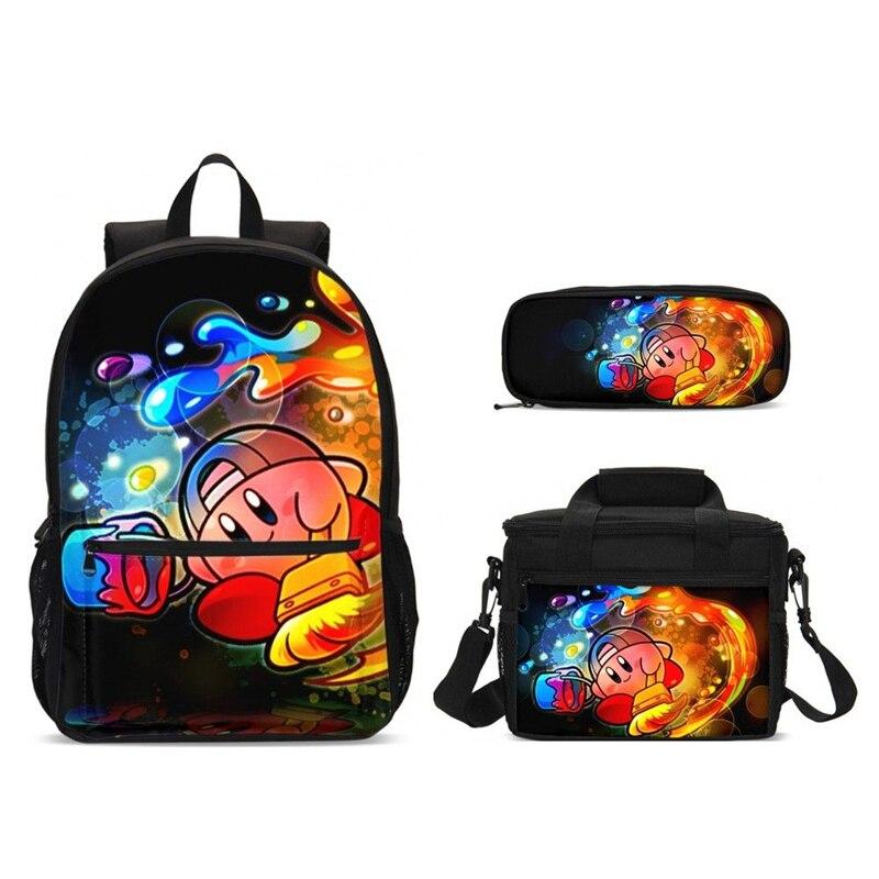 3 шт. школьные рюкзаки для мальчиков и девочек подростков, школьные сумки с героями мультфильмов, детские сумки для еды, пенал, детские дорож