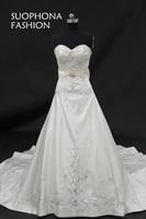 Hot Sale Vestidos De Noiva A Line Bridal Dresses 2017 Embroidered Beading Wedding Dress White Cheap