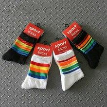 Man Socks Cotton High Quality Rainbow Stripe Mens Winter Black Off White Short Calcetines Hombre Divertido Algodon Sokken Mannen