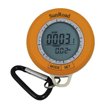 New LCD Mini Digital Camping Pedometer Altimeter Compass Thermometer Weather Forecast Time with Carabiner Sunroad sunroad fx712b digital fishing barometer watch w altimeter thermometer weather forecast time