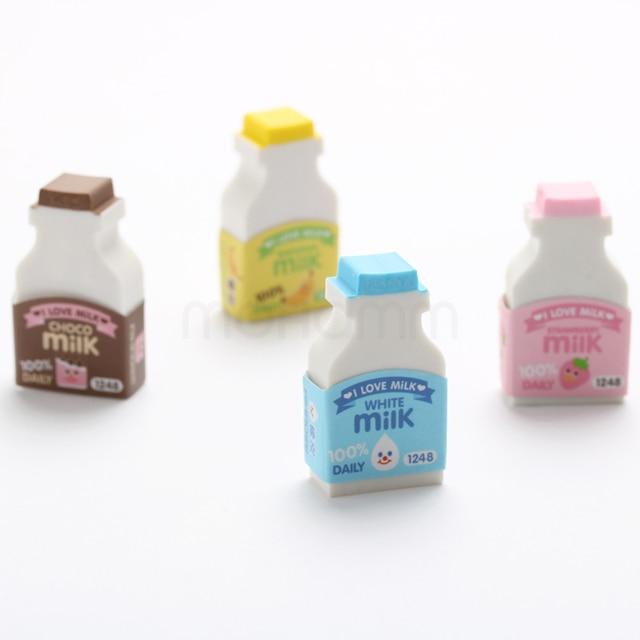 2 Шт./лот 3d Смазливая Бутылки Молока Забавный Японский Ластики Gomme Kawaii Для Детей Школьные Принадлежности
