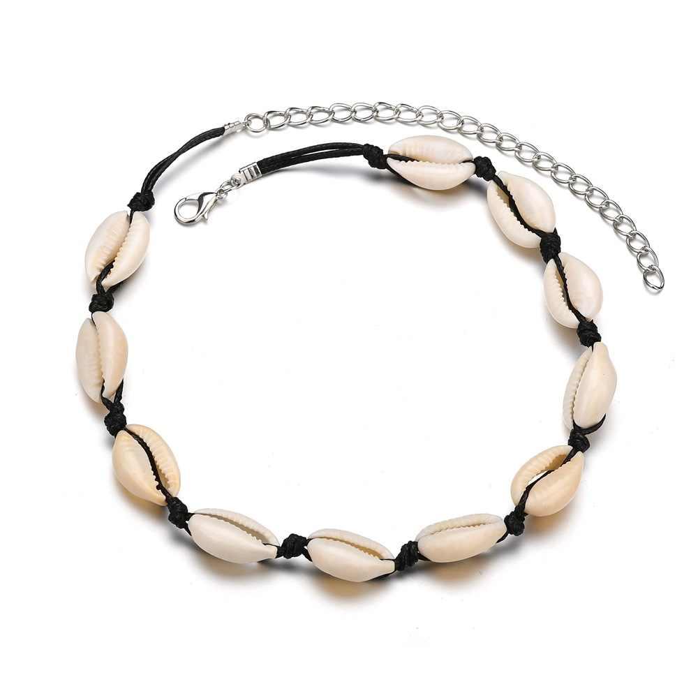 Yiustar Boho Black Rope Chain Seashell Necklace Woman Ocean Beach Sea Shells Choker Chain Necklace Natural Shell Girls Gifts