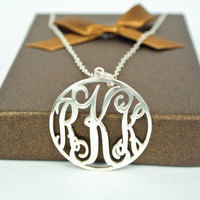 Wholesale 1.25 Circle Monogram Necklace 925 Silver Personalized Pendent Initial Custom Jewelry collar personalizado