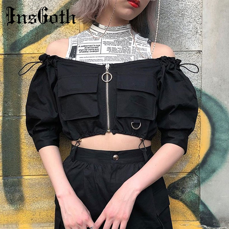 InsGoth Off Shoulder Crop Tops Women Black Zipper Bodycon Half Sleeve Sexy Tops Punk Hip Hop Streetwear Female Short T-shirts