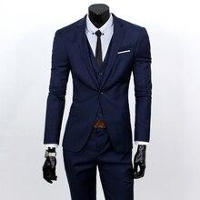 Cncool Мужская мода костюм из 3 предметов комплекты блейзеры + брюки + жилет мужской набор Бизнес Повседневное куртка жилет брюки