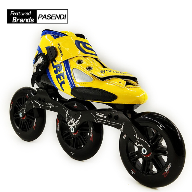 Fibra de Vidrio profesional velocidad botas mujeres hombres 125mm grande 3  ruedas torta redonda patinaje 26166680925