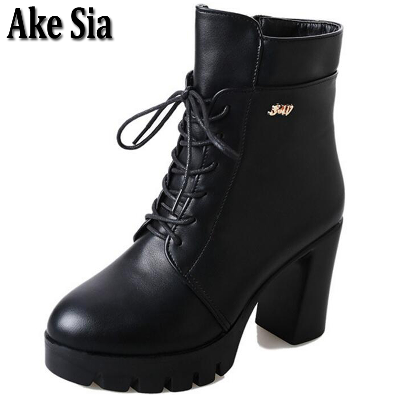 Ake Sia Sexy Stylish Women Autumn Winter Snow Martin Mid-Calf Combat Boots Bottine High Chunky Heel Platforms Shoes Booties F265 double buckle cross straps mid calf boots