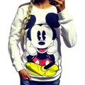 Sudaderas Mujer 2016 LongSleeve Pullover Mickey O-neck Character Printed Red White Kawaii Style hoodies sweatshirt for women's