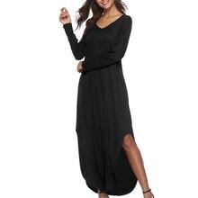Women s Dress Sex Sundress Summer Beach Long Dress Women s Casual Pocket  Long Sleeve Split Loose Maxi 1f6e16489a20