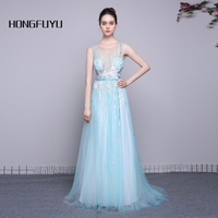 100 Real Photo Scoop Neck Sleeveless Tulle A Line Long Prom Dresses 2016 Sky Blue Sequined