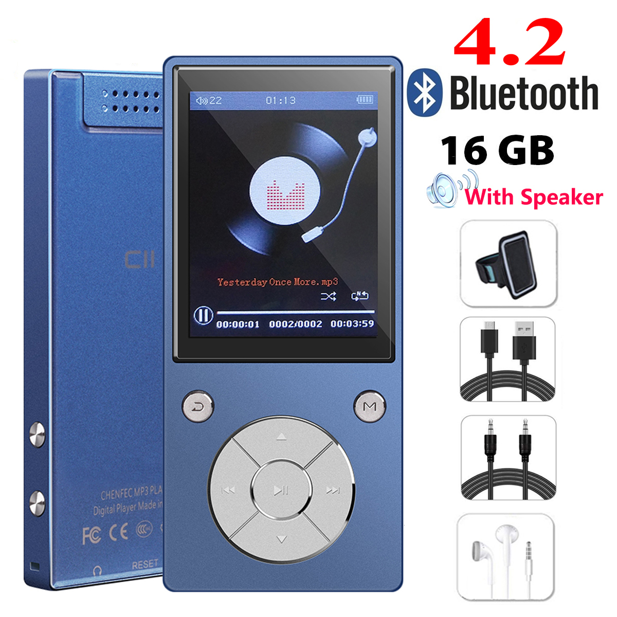 Original Speaker mp4 player 16GB HIFI Lossles Sound mp4 Music Player with bluetooth FM Radio Voice Recorder E Book Photo Viewer in MP4 Player from Consumer Electronics