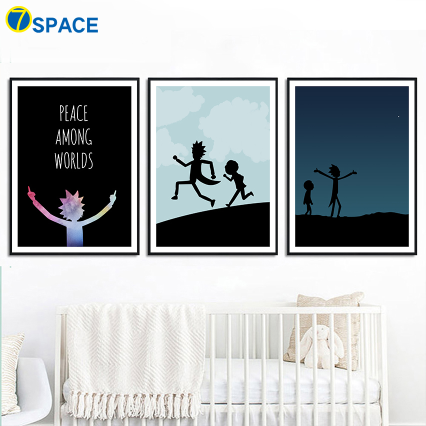 Ricky And Morty Anime Poster Nordic Posters And Prints Wall Art Canvas Painting Wall Pictures For Living Room Art Print Decor 1