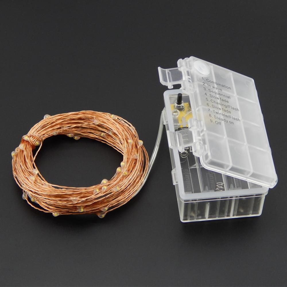 10M 33Ft 100 leds 6AA Batterie Aluminium Imperméable Télécommande - Éclairage festif - Photo 3