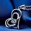 LIAMTING 100% Real Pure 925 Sterling Silver Jóias CZ Colar de Cristal Pingente de Coração Colar de Jóias da Mãe e da Criança VA019