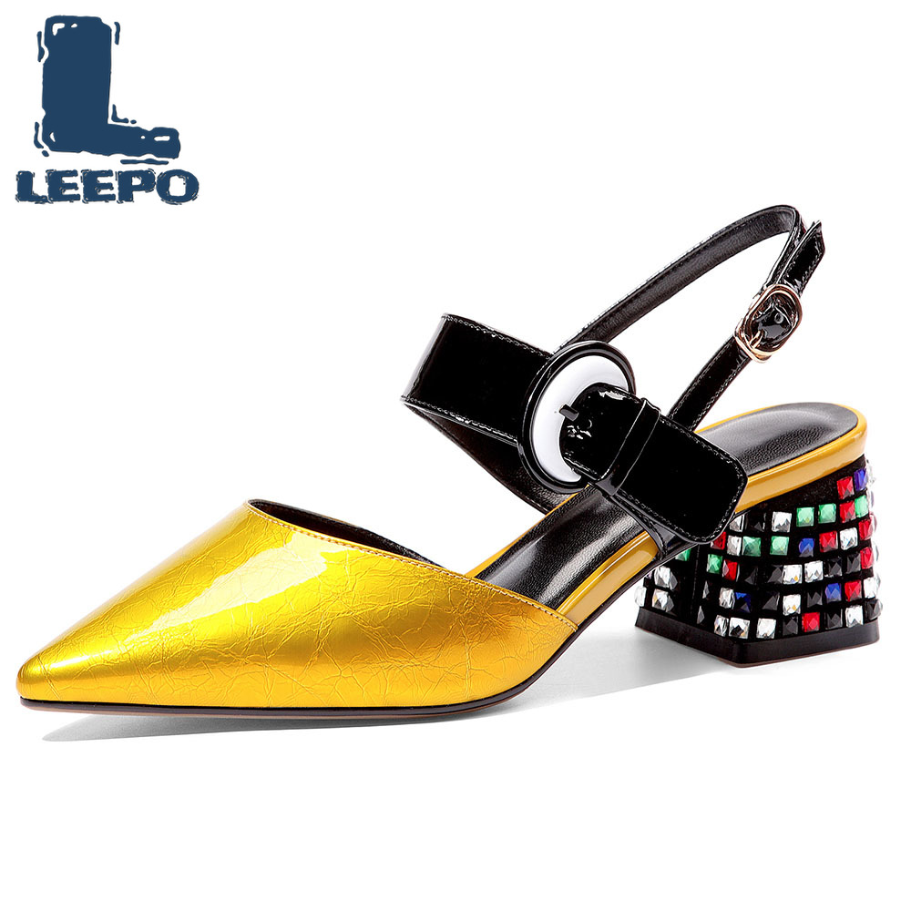 Womens ladies block low heel party diamante slip on strappy mules sandals 20-5