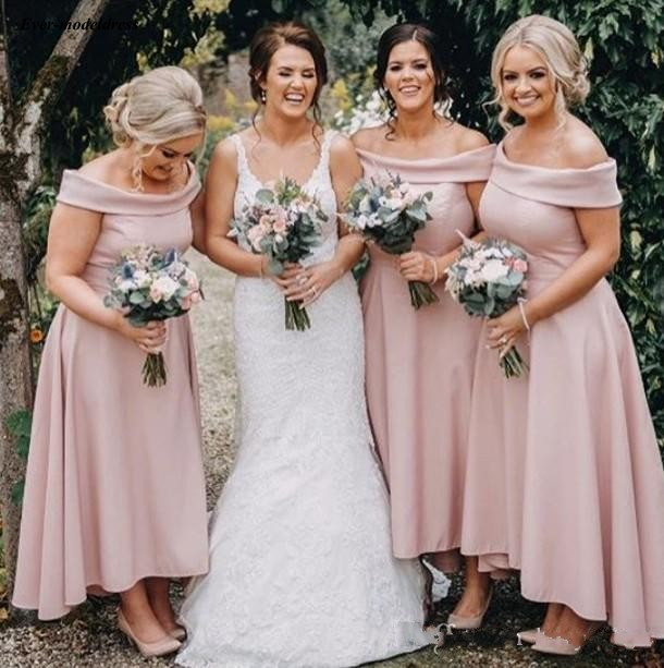 Pink Ankle Length   Bridesmaid     Dresses   2019 Off Shoulder A Line High Low Simple Maid of Honor Country Wedding Party Gowns Cheap