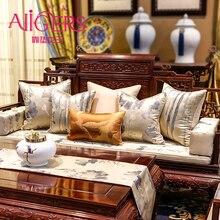 Avigers китайский стиль белая оранжевая Подушка Чехлы мягкий вышитый лист, цветок лотоса наволочки домашние декоративные для дивана автомобиля