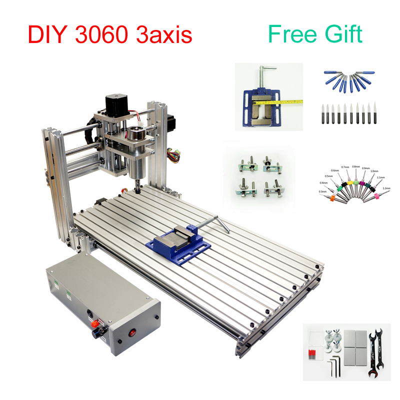 DIY CNC 3060 Metal Engraving Machine 3axis CNC Router Engraving Drilling Milling Machine 600*300mm Working Size