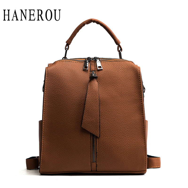 HANEROU Vintage Preppy Style Backpack For Teenage Girls Waterproof Leather Women Bag packs Casual Pack Bags Bead Mochila Mujer women back bag high quality mochila new 2017 women s backpack for teenage girls waterproof nylon preppy style school bags