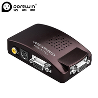 Dorewin AV S-Video to VGA Converter RCA 1 in 2 out Adapter for TV BOX Computer Laptop to Monitor Screen Projector Display