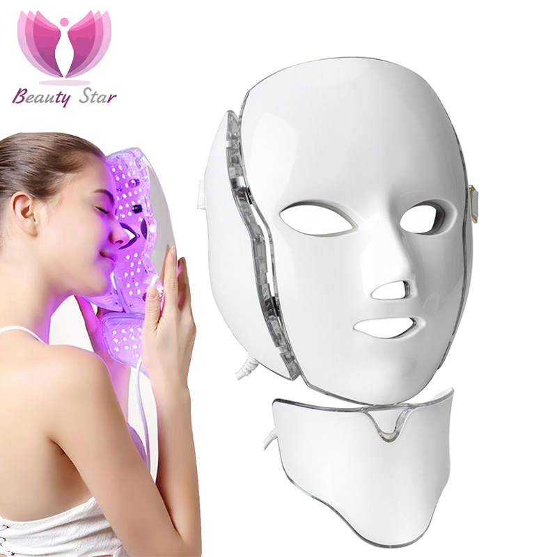 Beauty Star 7 Color Photon Electric LED Facial Neck Mask EMS Micro current Wrinkle Acne Removal