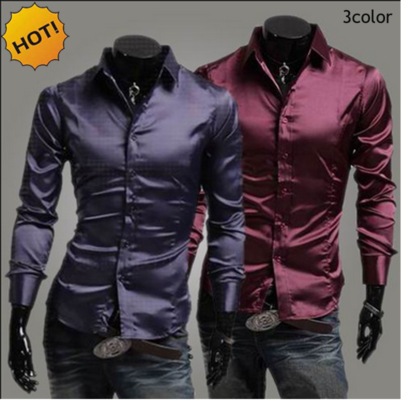 51979478 Detail Feedback Questions about Hot 2018 Spring Autumn Emulation Silk shiny  leisure men's Long sleeve Dress shirts Mens silky wine red/purple/black  Tuxedo ...